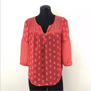 Lucky Brand XS Red Paisley Blouse Top